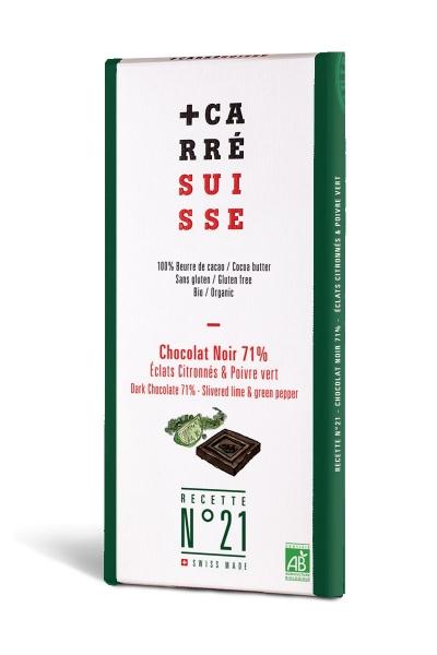 CARRE CHOCOLAT NOIR 71% LIMETTEN CRISPS